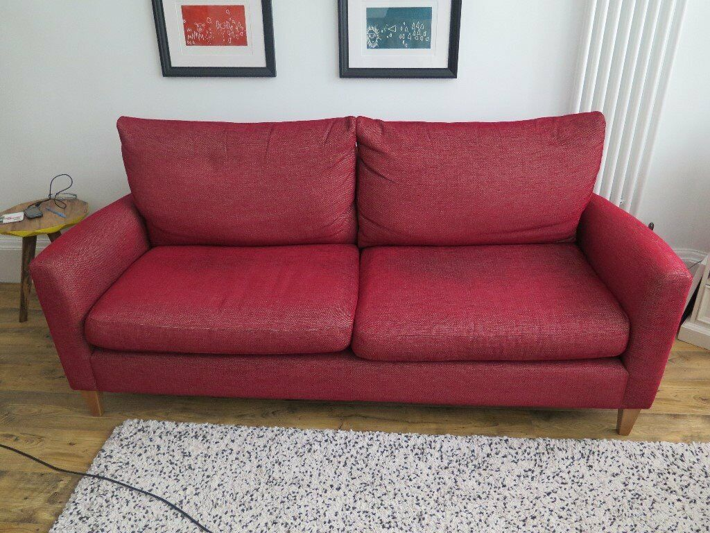 John Lewis Caruso Large Sofa Red Fabric In Broomhill Glasgow Gumtree