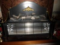 Berry Magicoal 3 bar electric fire black brass trim log effect in good working order