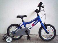 "(2144) 14"" Lightweight Aluminium RIDGEBACK Boys Girls Bike Bicycle+STABILISERS; Age: 3-5 H: 95-110cm"