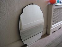 Large Art Deco Bevelled Mirror with Chrome Detail - Very good condition