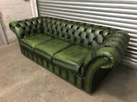 FREE DELIVERY GENUINE GREEN LEATHER CHESTERFIELD 3 SEATER SOFA GREAT CONDITION