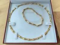 Gorgeous Italian gold bracelet,necklace and watch set