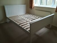 Pre-owned 4'-6 Double solid wood white bed with Double reflex spring rolled mattress