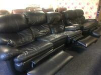 3+2 Black Leather Recliner Suite