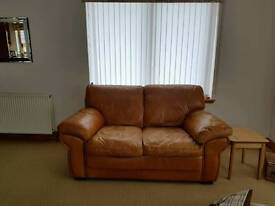 Leather 2 seater and chair