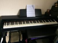 Digital piano with fully weighted hammer action keys