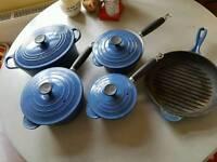 Le Creuset pans set blue