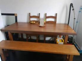 Dinning table with bench & chairs