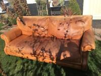 Lovely worn leather three seater sofa settee