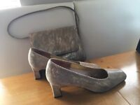 Ladies size 4 1/2 gold shoes and handbag