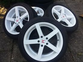5 Spoke Wheels with TIRES! Powder Coated WHITE 5x114.3mm
