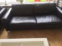 Black Leather John Lewis two piece. From a none smoker none pet household. Good condition
