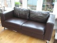 John Lewis brown leather two seater sofa