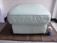 REAL LEATHER PALE GREEN FOOTSTOOL/POUFFE.