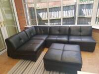 Black Leather Modular Sofa in very good condition