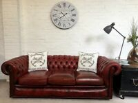 Lovely vintage oxblood Chesterfield sofa. Can deliver
