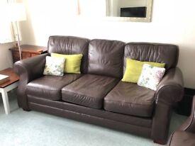 3 Seat Leather Sofa - Dark Brown