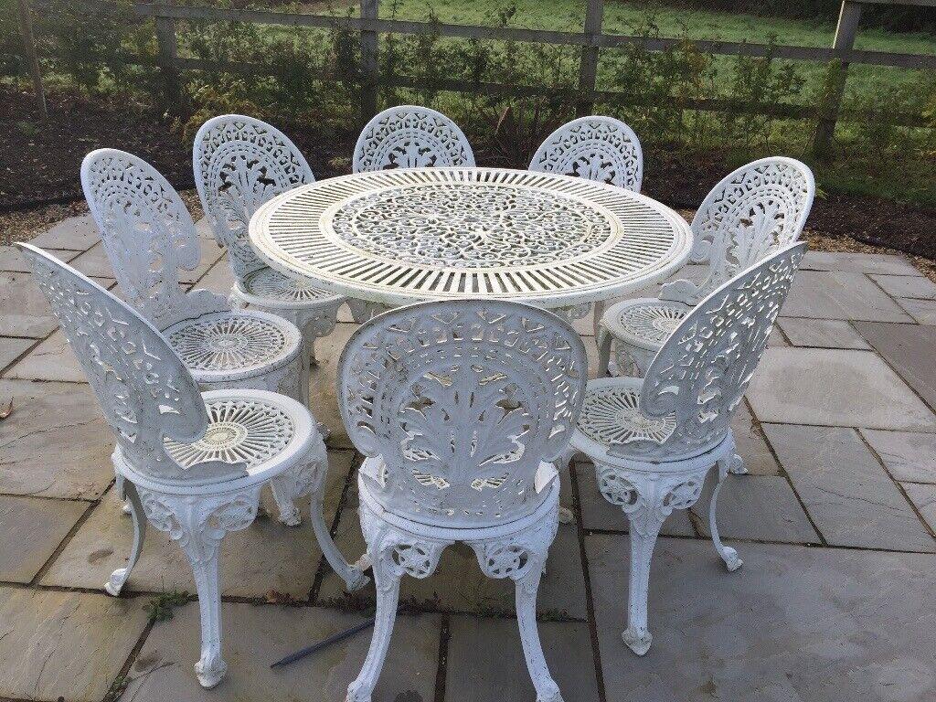 Vintage Style Cast Aluminium Patio Garden Set In Sudbury