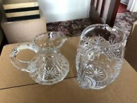 Two cut glass jugs for milk/cream