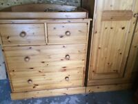 Solid wood matching wardrobe and chest of drawers