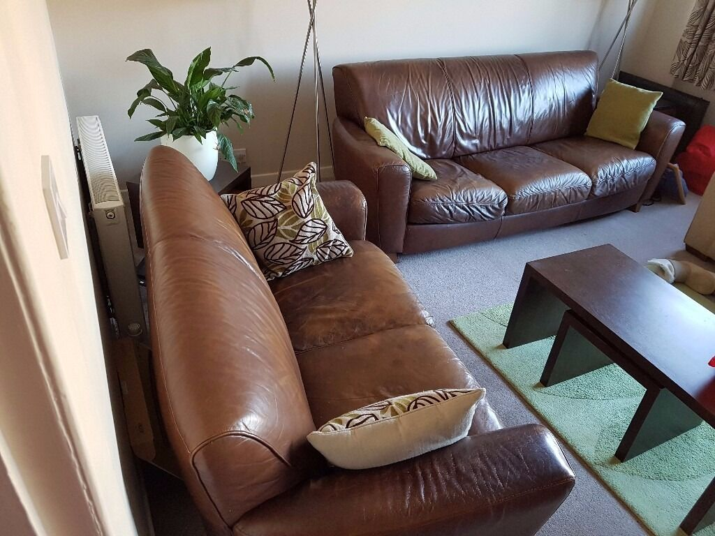 Leather Natuzzi Sofas One Two Seater And One Three Seater In