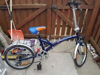 F&F folding bicycle 6 speed gears lights in good condition