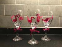Flamingo painted glasses