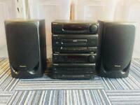 Panasonic Black Hi Fi System with cassette and CD player