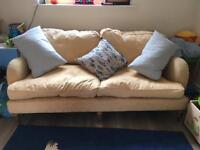 Lovely yellow/pale gold deep sofa
