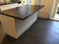 Ikea kitchen island/ breakfast bar - white gloss