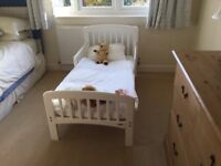 John Lewis Anna toddler bed, mattress and bedding, barely used, kept at Grandparents'
