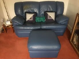 2 seater leather blue sofa & matching stool storage good condition