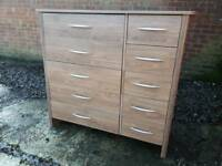 Dark wood effect set of drawers. Delivery available
