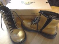 Dr Martens Gold Boots size 3 with box - decent condition