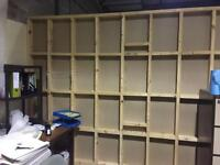 Plaster board wall, wood shelves, screws, door
