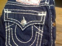 True Religion Slim Fit Jeans Navy Blue with white stitching waist 28