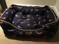 Joules medium dog bed navy birds