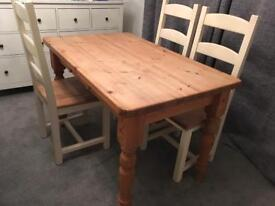 Wooden dinning room table and chairs