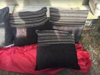 7 sofa cushions black and grey ex condition £20