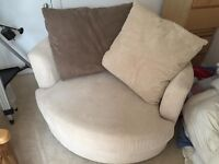 Unused SCS single swivel chair with matching cushions