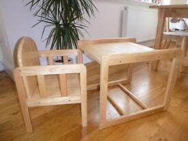 Convertible wooden high chair (can also be a table and chair)