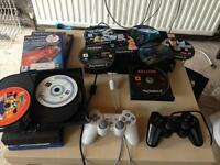 PlayStation 2 - 2 controllers 2 memory cards and games