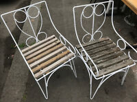 old classic vintage garden chairs ( Pair )
