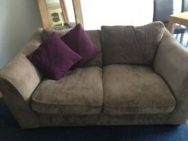 Free- 2 piece sofa velvet look beige sofa for collection