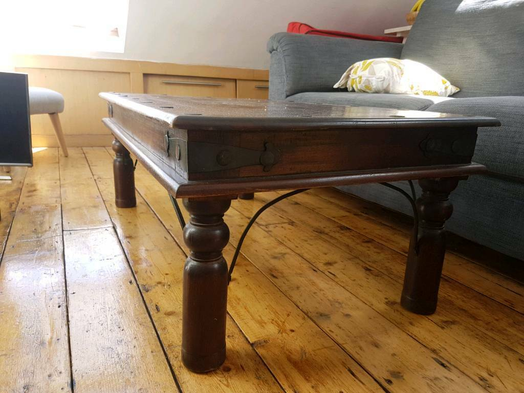 Dark Wood Indian Coffee Table And Side