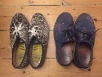 Dr. Martens flower floral leather flats shoes size 8 or 8.5