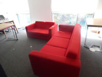 Reception sofas matching pair in stunning lipstick red!