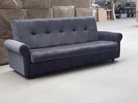 BRAND NEW LARGE CLICK CLACK SOFA BED FABRIC WITH STORAGE 3 SEATER AVAILABLE NOW