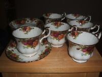 Royal Albert english country rose vintage 1960s bone china set of six teacups and saucers