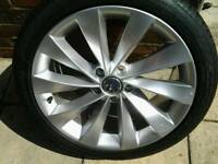 VW 18 INCH ALLOY WHEEL AND TYRE NEVER USED